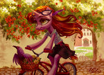anthro basket bicycle bird flowers glasses highres holivi original_character