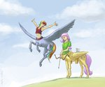 adeptus-monitus arrow bow_(weapon) centaur fluttershy rainbow_dash