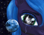 big miradge moon planet portrait princess_luna space tears