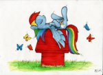 butterfly doghouse ecmonkey grass peanuts rainbow_dash traditional_art