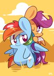 bandage chibi mackinn7 rainbow_dash scootaffection scootaloo
