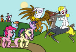 casual_viewing fluttershy gilda original_character pinkie_pie rainbow_dash topshot twilight_sparkle yellowstar