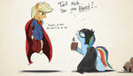 applejack batman cider drunk highres ncmares rainbow_dash superheroes superman