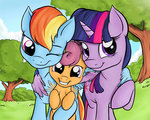 highres hugs nobody47 princess_twilight rainbow_dash scootaloo twilight_sparkle