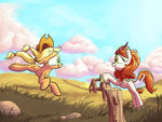applejack autumn_blaze highres kirin rocket-lawnchair
