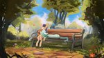 bench hierozaki highres lyra_heartstrings lyrabon shipping sweetie_drops trees