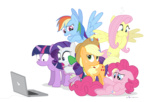 applejack computer dm29 fluttershy looking_at_the_place_which_shall_not_be_named main_six pinkie_pie rainbow_dash rarity reaction_image spike transparent twilight_sparkle
