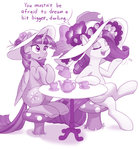 cup dstears feather flowers hat highres princess_twilight rarity table teacup teapot twilight_sparkle