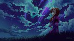 anthro cloud grass highres holivi nighttime original_character shooting_star stars