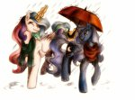 buttersprinkle magic princess_celestia princess_luna rain scarf traditional_art umbrella