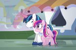 canterlot dm29 force_field magic princess_cadance rain scarf shining_armor