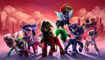 absurdres applejack audrarius costume fillisecond fluttershy highres humdrum main_six masked_matterhorn mistress_marevelous pinkie_pie power_ponies radiance rainbow_dash rarity saddle_rager spike twilight_sparkle zapp