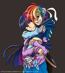 bandage highres humanized nyuuchandiannepie rainbow_dash shipping twidash twilight_sparkle