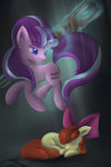 apple_bloom ardail bow highres magic sad staff_of_sameness starlight_glimmer