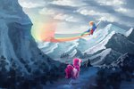 flying kallarmo mountain pinkie_pie rainbow_dash scenery