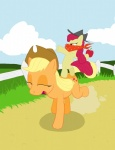 absurdres apple_bloom applejack highres jakneurotic pony_ride_the_pony riding