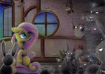 bat bird chicken fluttershy hedgehog moonlight-ki mouse owl rabbit snake squirrel traditional_art window