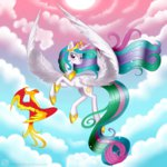highres philomena princess_celestia swanlullaby