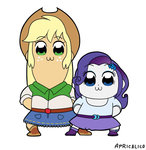 applejack equestria_girls feellikeaplat pop_team_epic rarity