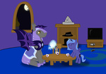 controller cup filly hat mare_in_the_moon moon nes night_guard paper_hat plushie princess_luna secret-asian-man smarty_pants tea teapot tophat toy tv woona woonastuck