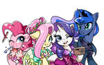 dress flowers fluttershy pinkie_pie princess_luna rarity rougeredred