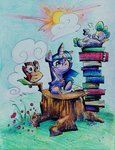 book glasses highres maddie-the-cattie owlowiscious spike traditional_art twilight_sparkle