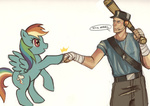 artist_unknown baseball_bat cap crossover dog_tag headphones rainbow_dash scout team_fortress_2