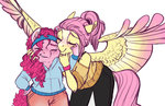 anthro blush blushing earthsong9405 flutterpie fluttershy kiss pinkie_pie shipping