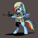 bipedal gun helmet hobbang jacket military rainbow_dash weapon