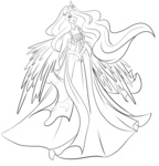 dress highres humanized kyamii lineart princess_celestia