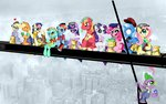 absurdres alcohol applejack big_macintosh cigarette derpy_hooves fluttershy gummy highres inkypsycho lunch_atop_a_skyscraper lyra_heartstrings main_six parody pinkie_pie rainbow_dash rarity spike sweetie_drops the_great_and_powerful_trixie twilight_sparkle