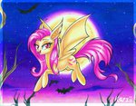 bat flutterbat fluttershy karzii moon traditional_art