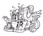 bath bathtub filly foldawaywings highres plushie princess_cadance smarty_pants toy traditional_art twilight_sparkle