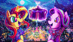 absurdres highres jowybean magic nighttime ponyville scarf starlight_glimmer sunset_shimmer