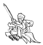 artist_unknown crossover lineart no_more_heroes rainbow_dash sword travis_touchdown weapon