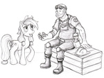 applejack artist_unknown crossover engineer team_fortress_2