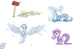 applejack averagedraw cardboard_box derpy_hooves fluttershy mail mailbox rainbow_dash sketch wings