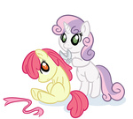 :3 apple_bloom bamboodog i_shall_not_use_my_hooves_as_hands sweetie_belle this_will_end_well