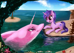 absurdres background_ponies crab darksly-z dolphin highres sea sea_swirl water