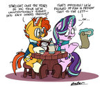 bobthedalek book highres magic scroll starlight_glimmer sunburst table teacup teapot