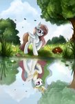 absurdres flowers highres pony-way princess_celestia reflection trees water