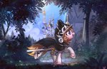absurdres canterlot highres mirroredsea original_character sword trees weapon