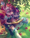 anthro apples book filly grass highres holivi princess_cadance tree twilight_sparkle