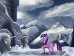 highres ilicksunshine mountain princess_twilight ruins scenery snow twilight_sparkle