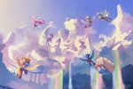 absurdres cloud cloudchaser derpy_hooves fleetfoot flitter flying freeedon highres night_glider spitfire