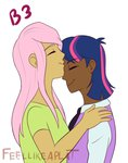 feellikeaplat fluttershy humanized kiss shipping twilight_sparkle twishy