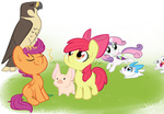 apple_bloom briskby cat cutie_mark_crusaders falcon opalescence pet pig scootaloo sweetie_belle