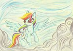 cloud flying highres pedrohander rainbow_dash traditional_art
