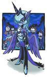 costume gashi-gashi highres horn horse_ears humanized nightmare_night pinkie_pie princess_luna sparkles spike twilight_sparkle variety_is_the_why wings