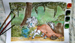 bag cloak everfree_forest flowers forest highres poison_joke traditional_art trees woonborg zecora